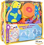 Foam Letters Alphabet Educational Toys for Toddlers with Bath Toy Organizer-One of the Biggest BathTub Toys(26 Puzzles-52 items)-Safe