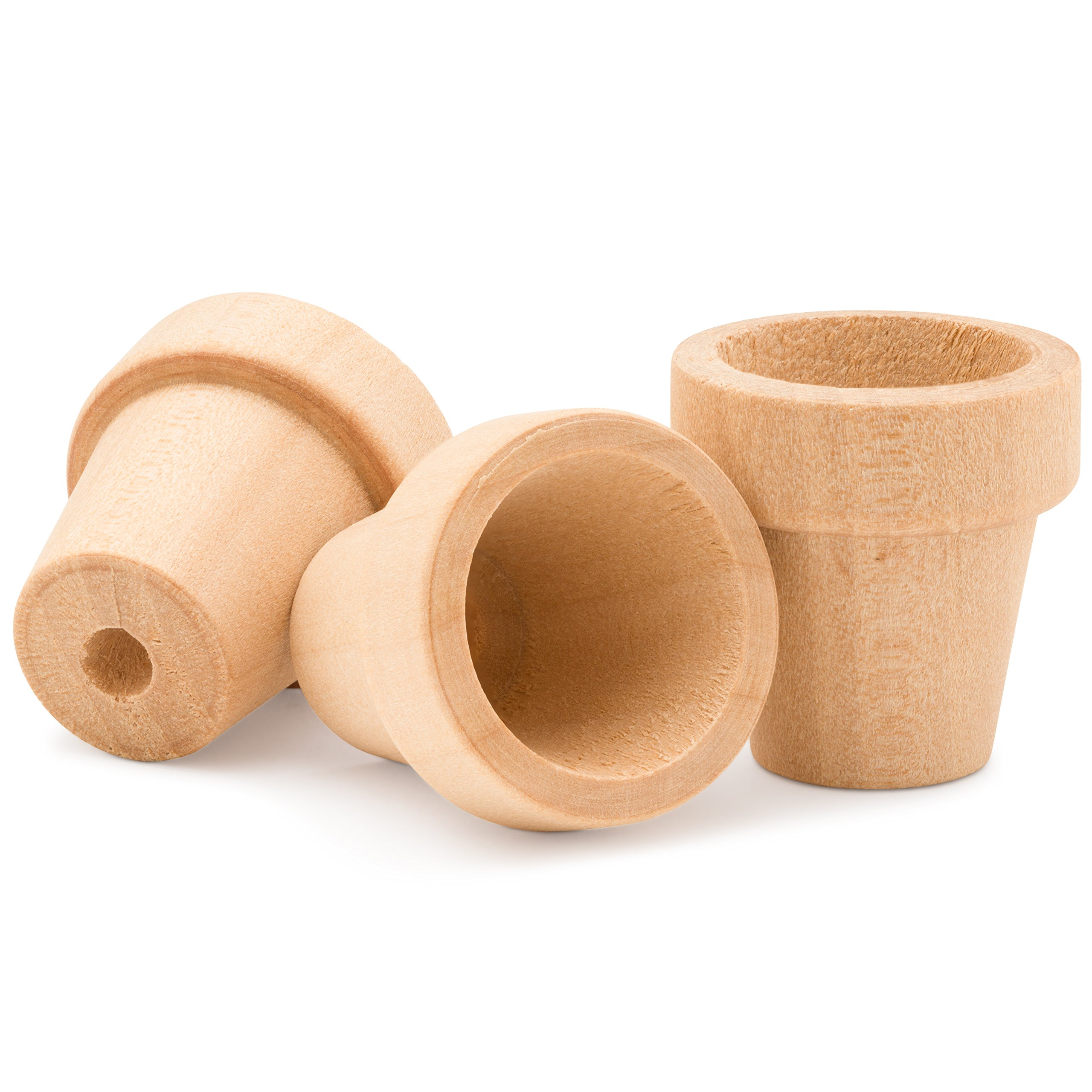 Craft Flower Pot - 2 inches Tall and 1-3/4 inch Wide at Opening - 100 Pack - Unfinished Wood Flower Pot- by Woodpeckers Crafts