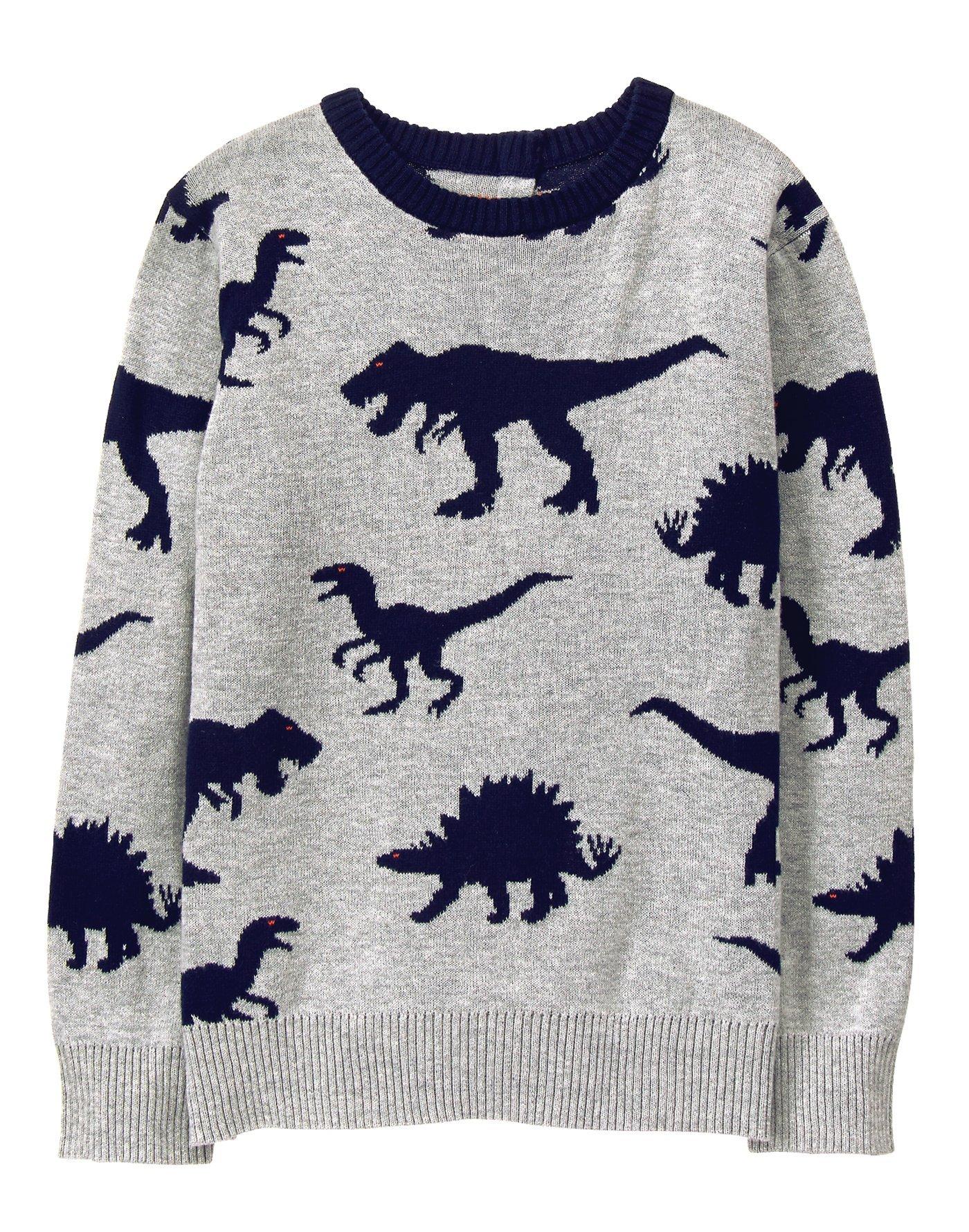Gymboree Little Boys' Dino Sweater, Classic Grey Heather, S