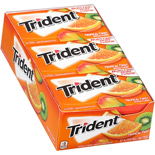 Trident Tropical Twist Sugar Free Gum - with Xylitol - 12 Packs (168 Pieces Total)