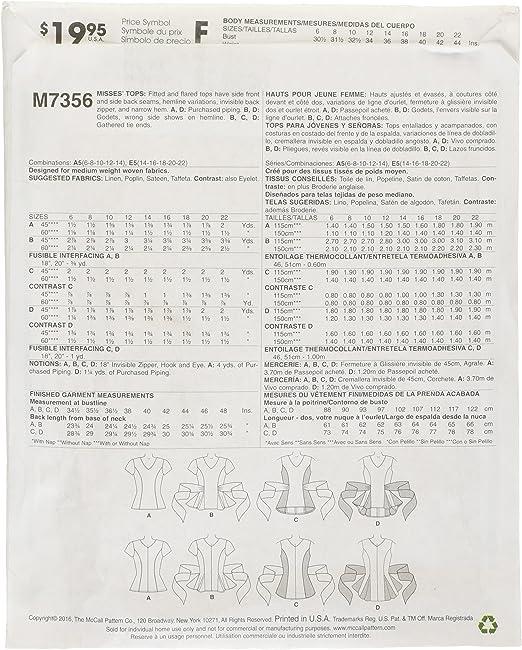 6-8-10-12-14 McCalls M8123H5 D/éguisement pour femme H5