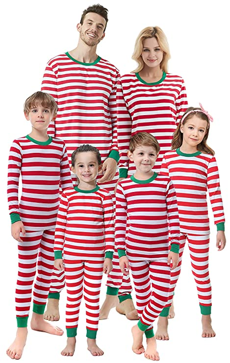 Matching Family Christmas Boys Girls Pajamas Striped Kids Sleepwear Children Clothes Women XL best Christmas pajamas for families