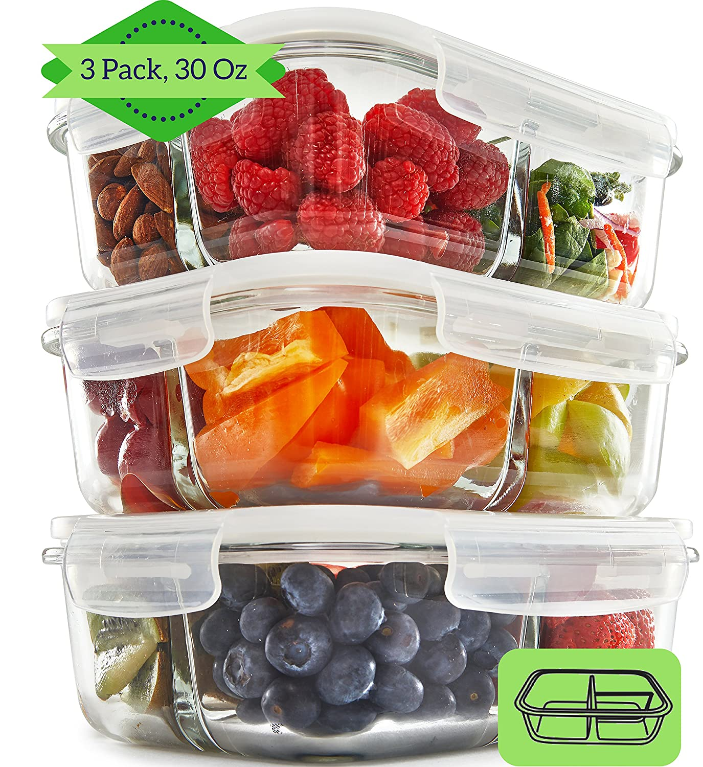 3 Compartment Glass Meal Prep Containers (3 Pack) - Food Storage Containers with Vented Lids | Glass Set | Leakproof Food Prep Containers | Portion Control Food Containers | Bento Lunch Box Fit Strong & Healthy