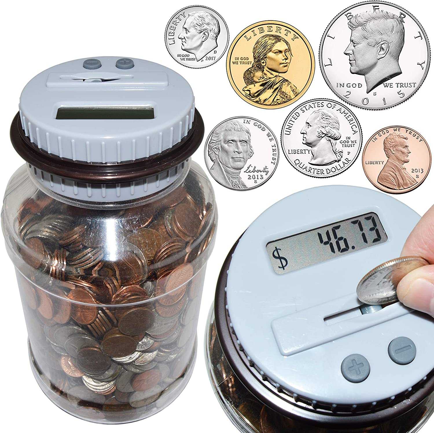 Digital Coin Counting Money Jar Bank - Accepts All US Coins from Pennies to Dollars - by SciencePurchase