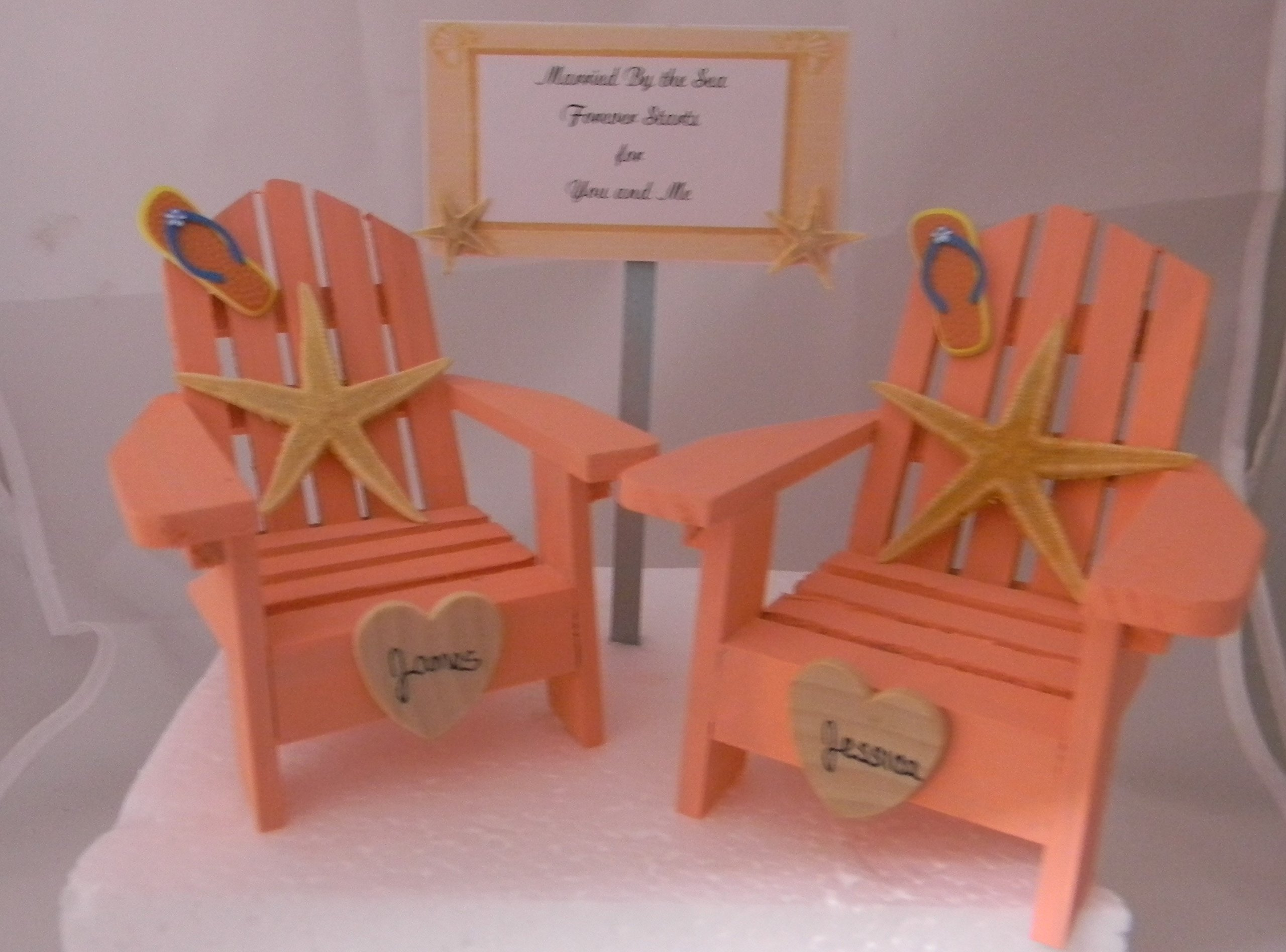 Wedding Reception Adirondack Chairs Beach Real Starfish Cake Topper Sign