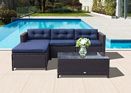 Orange Casual 5Pcs Outdoor Patio Wicker Sofa Set Sectional Conversation  Sets Rattan Patio Furniture With Glass