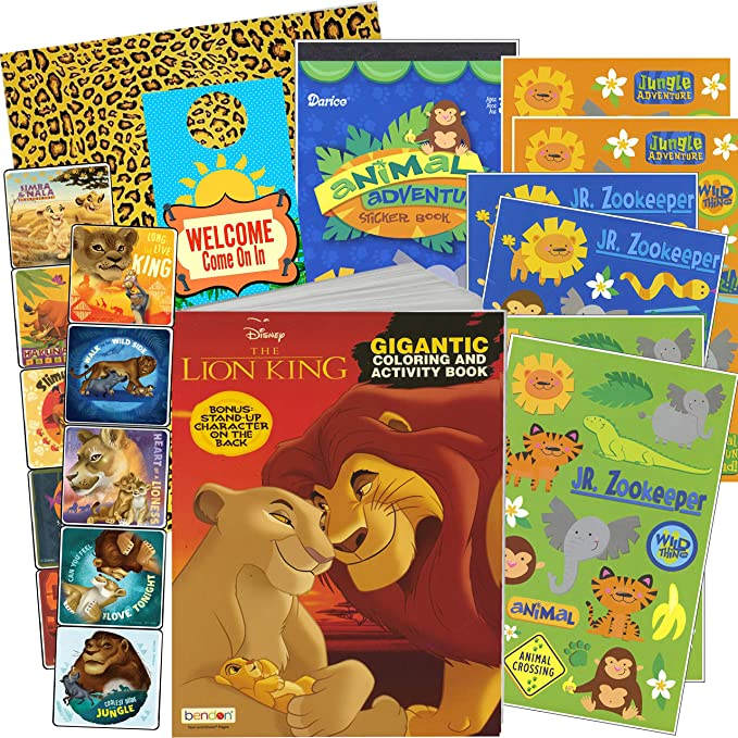 Amazon.com: Disney Lion King Coloring Book And Stickers Gift Set - Bundle  Includes Gigantic 192 Pg Coloring Book With Stickers In Specialty Gift Bag (Lion  King): Kitchen & Dining