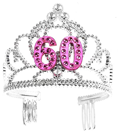Amazon Forum Novelties Happy Birthday 60th Silver Pink Tiara