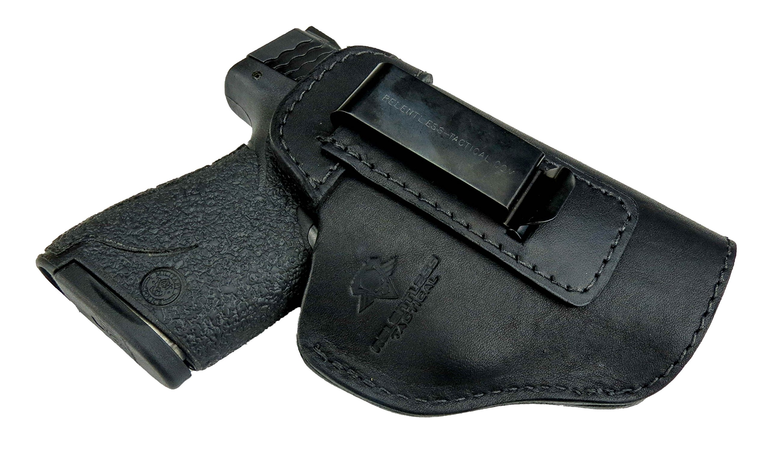 Relentless Tactical The Defender Leather IWB Holster - Made in USA - For S&W M&P Shield - GLOCK 17 19 22 23 32 33/Springfield XD & XDS/Plus All Similar Sized Handguns - Black - Right Handed by Relentless Tactical