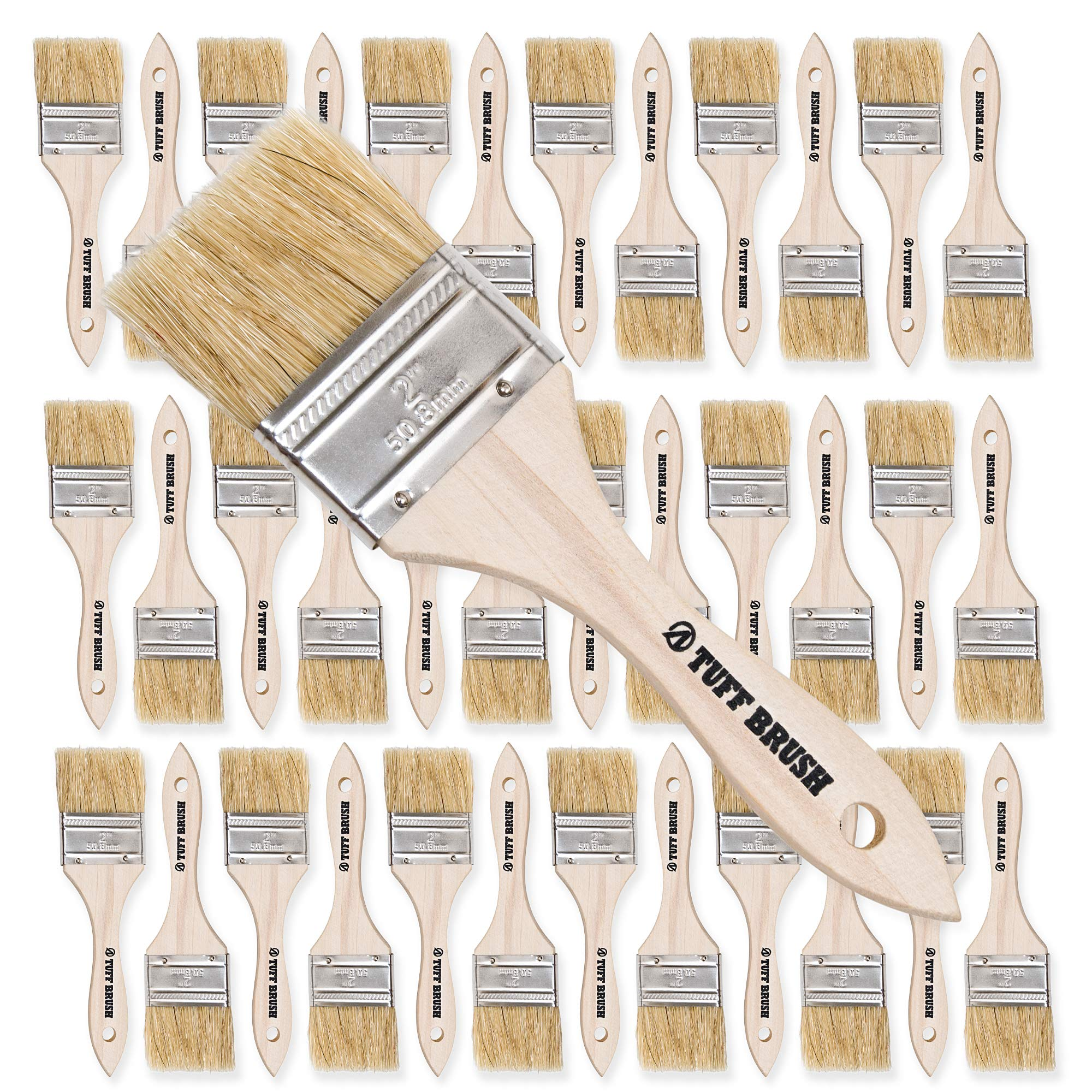 TUFF BRUSH - 50 Pack of 2 inch Chip Brushes for Paint, Stains, Varnishes, Glues, Resins, and Gesso by TUFF BRUSH