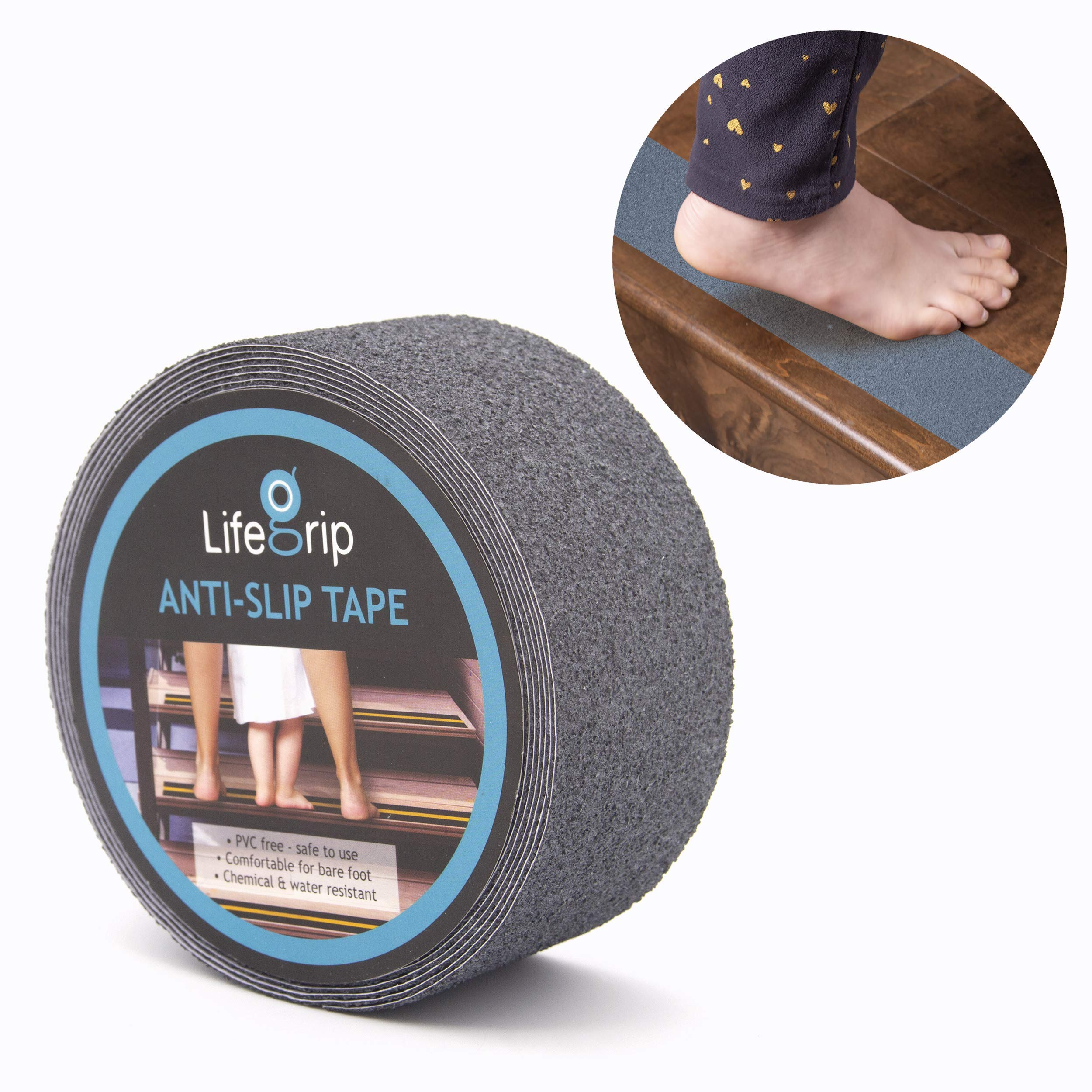 LifeGrip Anti Slip Safety Tape, Non Slip Stair Tread, Textured Rubber Surface, Comfortable for Bare Foot, 2 inch X 15 foot, Grey by LifeGrip Stay on Track