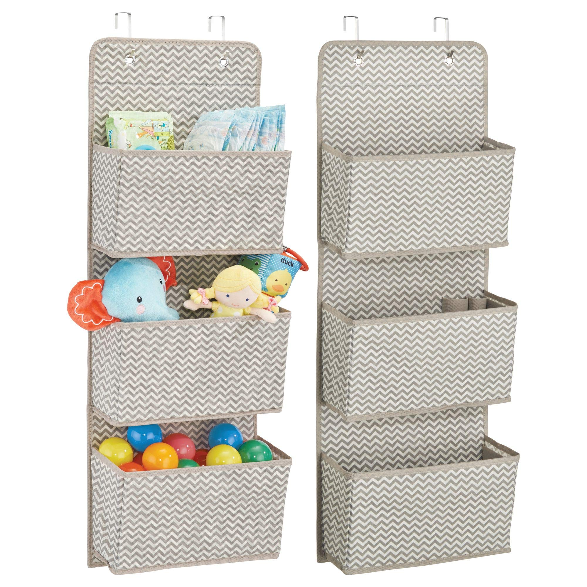 mDesign Over Door Fabric Baby Nursery Closet Organizer for Stuffed Animals, Diapers, Wipes, Towels - Pack of 2, 3 Pockets Each, Taupe/Natural by mDesign