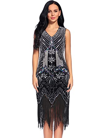 f4c736b20f73e Flapper Girl 1920s Gastby Sequin Art Embellished Fringed Flapper Dress (S