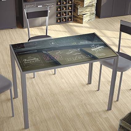 Mesa de cocina en cristal templado base metalica. 105x60cm: Amazon ...