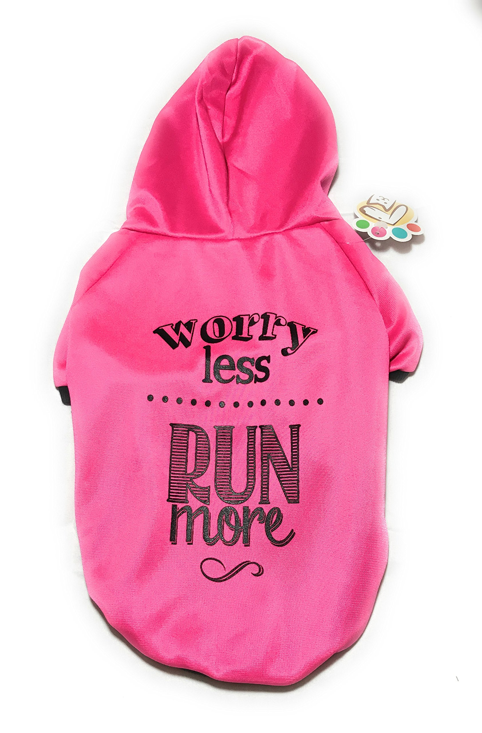 Dog or Puppy Sweater Hoodie ´Worry Less Run More´ Pink for Large or Extra Large Pets XL size/ Extra Large Fashion and Funny Hoodie Shirt Petmont Brand For Boys Or Girls