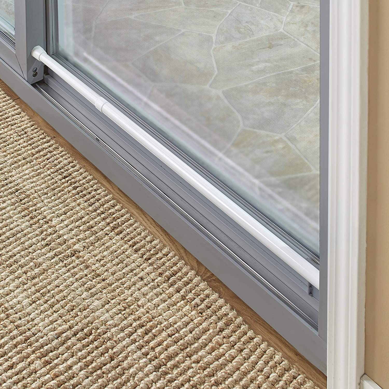 the lakeside collection sliding door security bar with rubber tips white 1 dia x 26 to 48 l