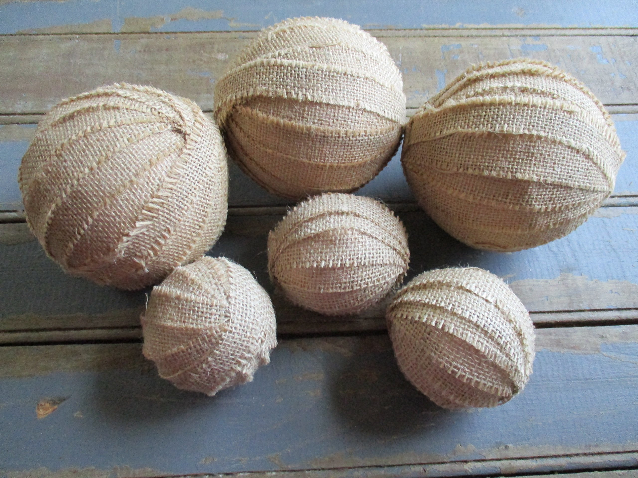 From The Attic Crafts Burlap Rag Balls Decorative Bowl Fillers 4 inch and 2.5 inch set of 6 by From The Attic Crafts (Image #5)
