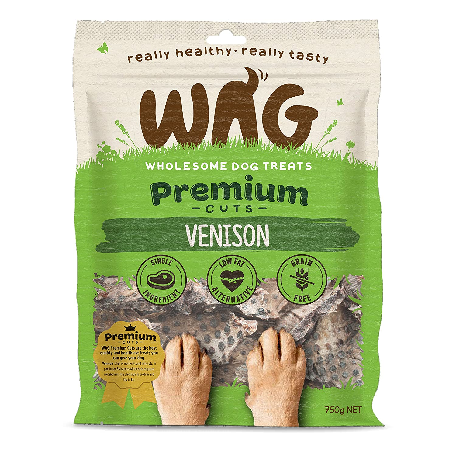 750g WAG Venison Jerky 750g, Grain Free Hypoallergenic Natural New Zealand Made Dog Treat Chew, Perfect for All Sizes & Breeds