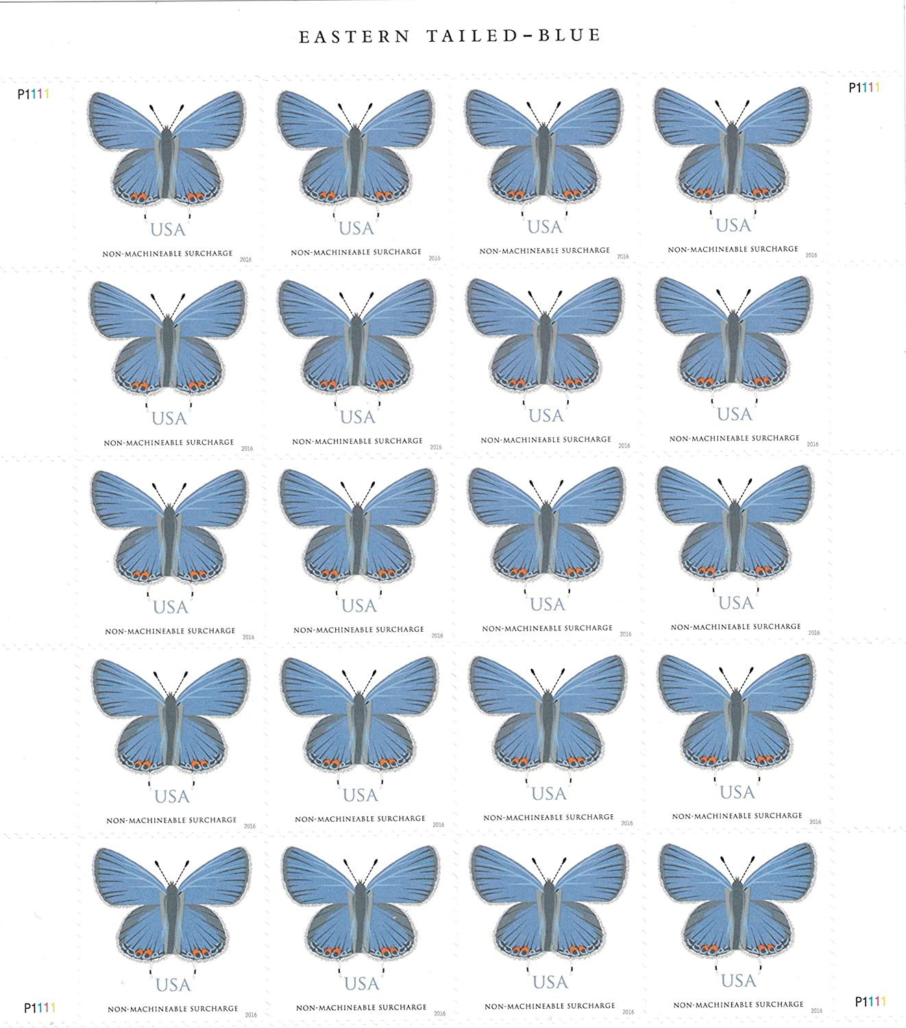 Eastern Tailed-Blue - Sheet of 20 Non-machinable Rate Postage Stamps Scott 5136