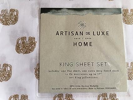 Artisan de Luxe – King hoja 4 piezas Juego de ropa de cama 100% algodón