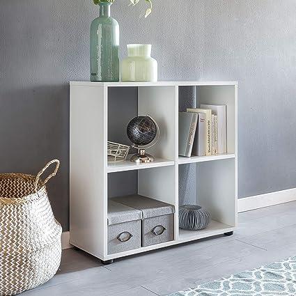 Wohnling Diseño Estante Zara con 4 Compartimentos Color Blanco 70 x 72 x 29 cm |