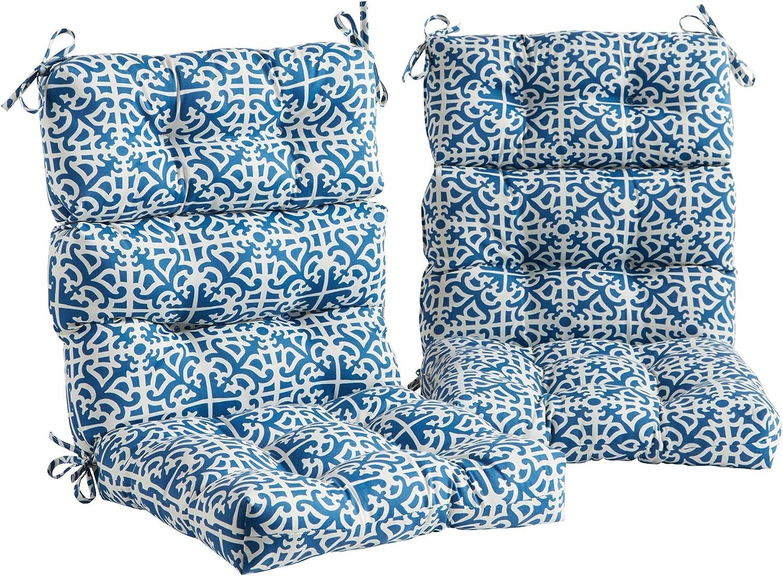 Greendale Home Fashions (Set of 2 Outdoor 44x22-inch High Back Chair Cushion, Indigo