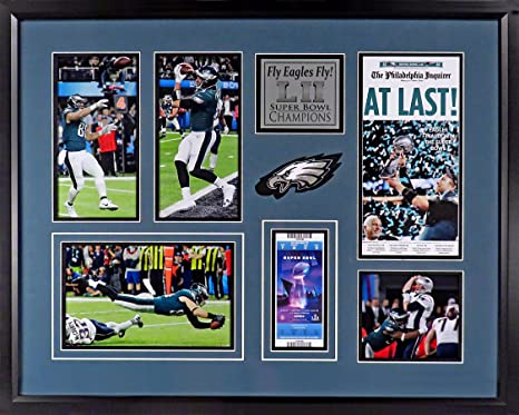 220231dff Philadelphia Eagles Super Bowl LII Champions Collage Patch Display (Feat.  Mini-Newspaper