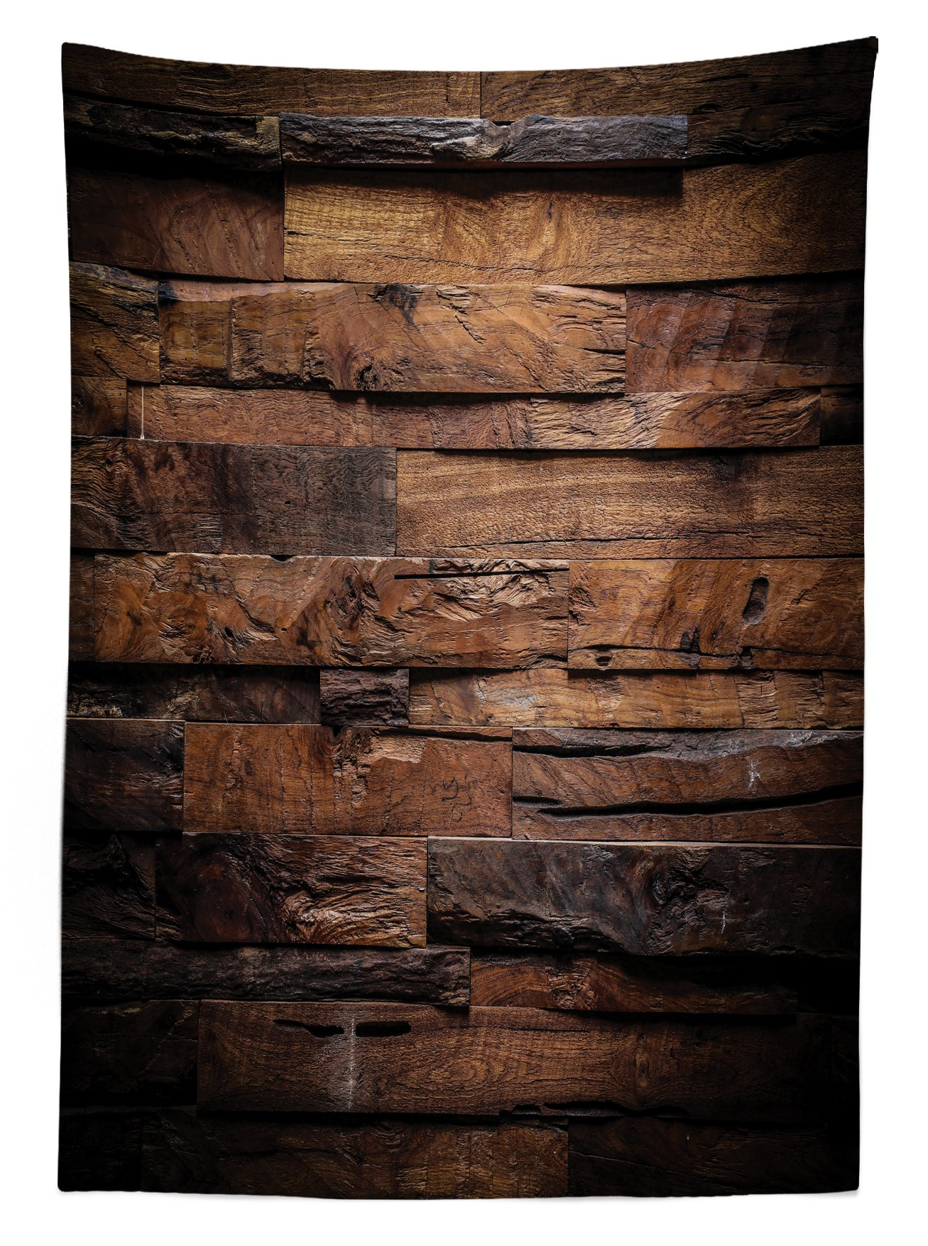 Ambesonne Chocolate Tablecloth, Rough Dark Timber Texture Image Rustic Country Theme Hardwood Carpentry, Dining Room Kitchen Rectangular Table Cover, 60 W X 84 L inches, Brown Dark Brown by Ambesonne (Image #2)