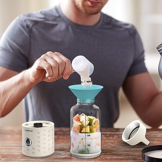 Personal Blender, popbabies Travel Blender para Single, USB recargable Licuadora para batidos y batidos más y más rápido con Ice Tray Embudo y recetas (FDA y sin BPA) Elfenbeinweiß: Amazon.es: Hogar
