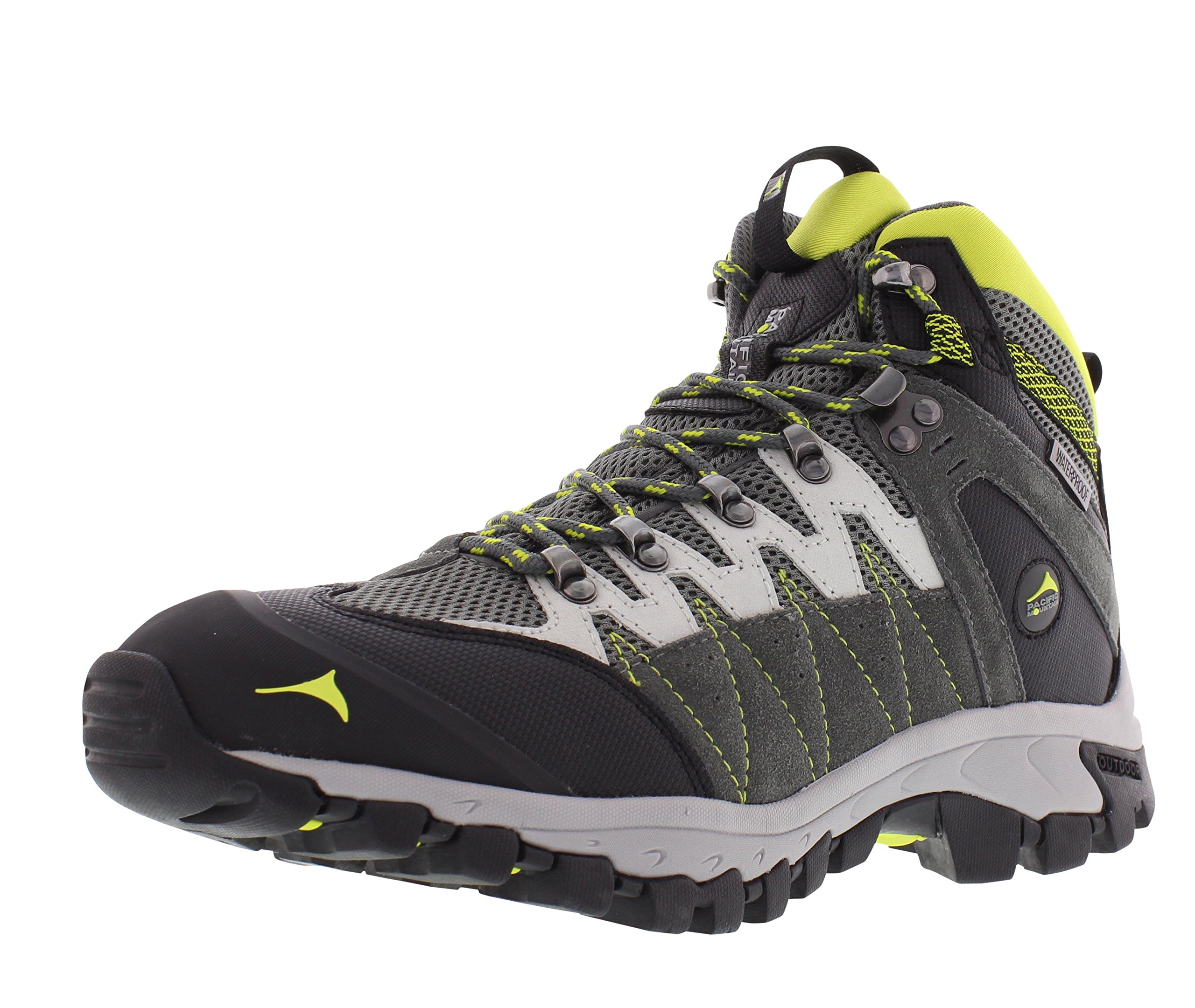 Pacific Mountain Descend Men's Waterproof Hiking Backpacking Mid-Cut Grey/Black/Light Green Boots Size 10