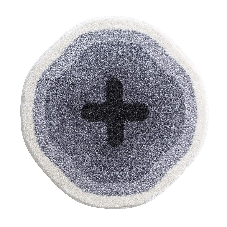 Grund KARIM RASHID Exklusiver Designer Badteppich 100% Polyacryl, ultra soft, rutschfest, ÖKO-TEX-zertifiziert, 5 Jahre Garantie, KARIM 03, Badematte 90 cm rund, grau