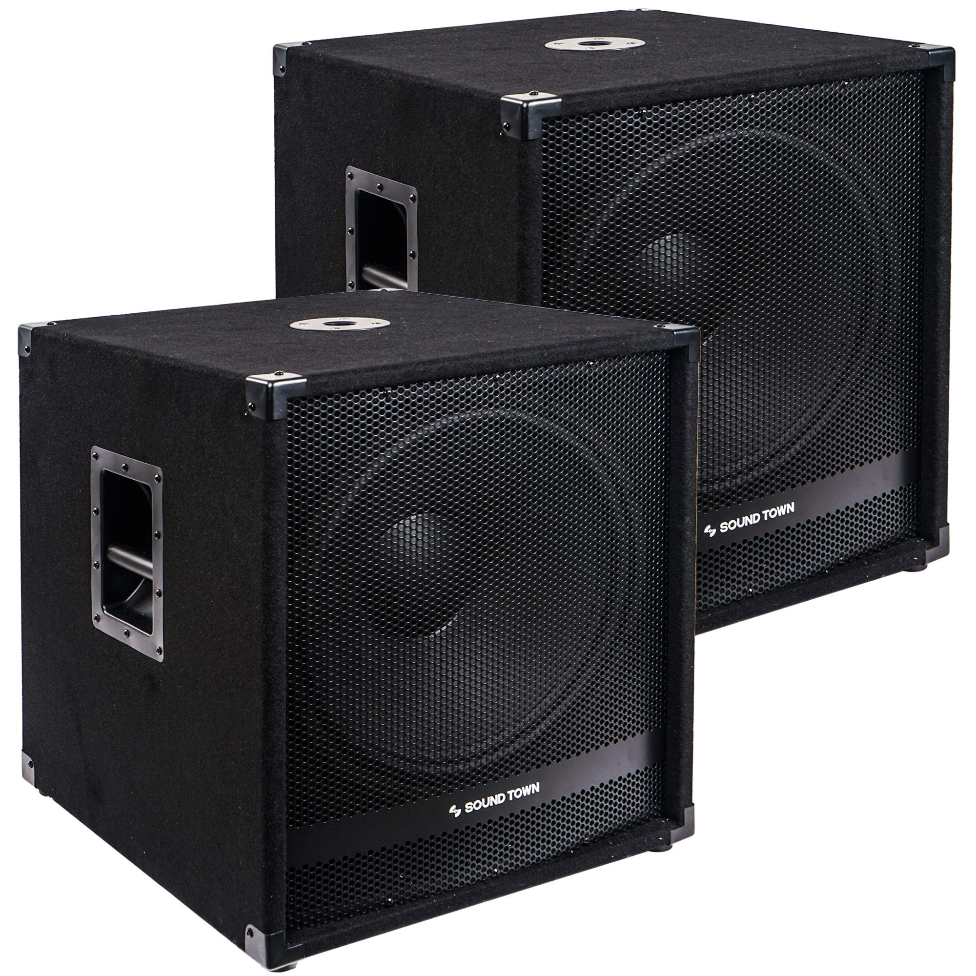 Sound Town 2-Pack 18'' 2000 Watts Powered Subwoofers with Speaker Outputs, DJ PA Pro Audio Sub with 4-inch Voice Coil (METIS-18SPW2.1-PAIR) by Sound Town