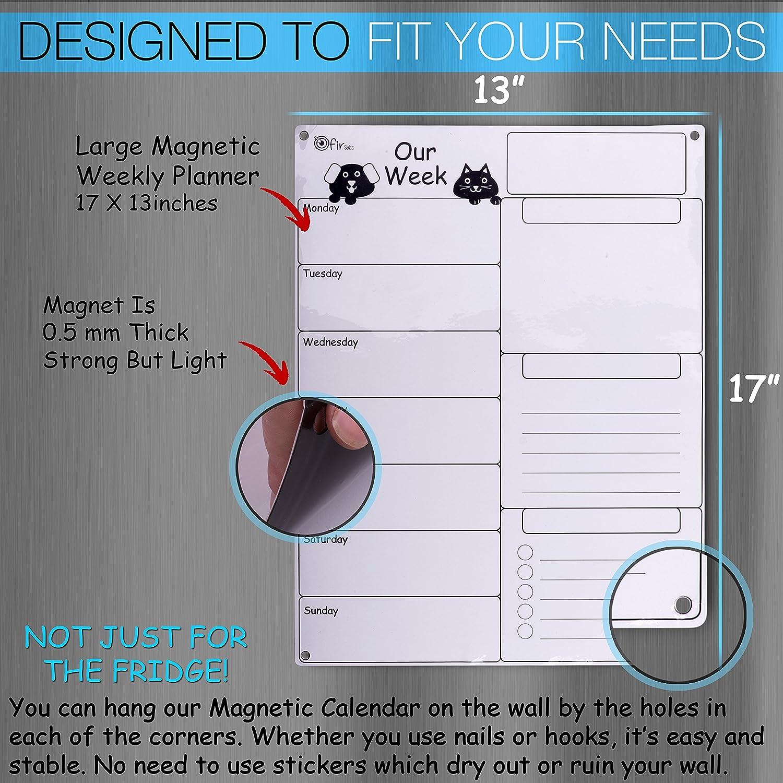 amazon com dry erase weekly magnetic calendar set whiteboard