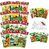 TINYMILLS Woodland Animals Coloring Book for Kids Party Favor Set with 12 Coloring Books and 48 Crayons Cute Forest Creatures