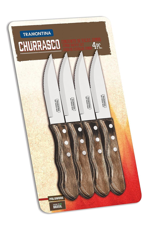Tramontina Set of 4 Jumbo Steak Knives with Wooden Handles Tramontina_29899/151