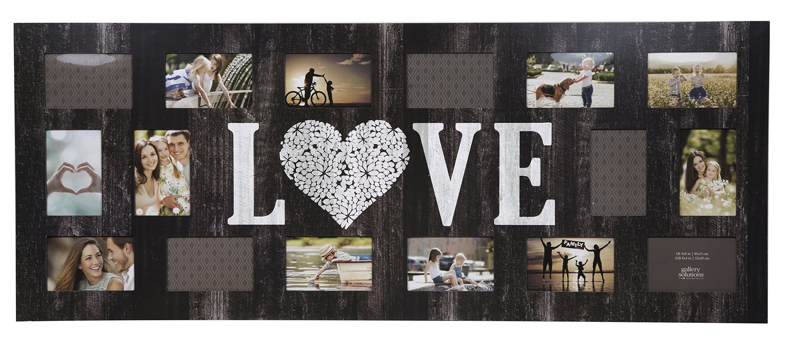 GALLERY SOLUTIONS Rustic 16 Opening Distressed Love Collage Frame