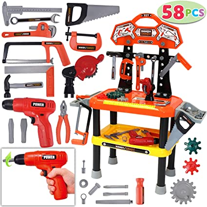 58 Pieces Kids Workbench With Realistic Tools And Electric Drill For Construction Workshop Tool Bench Stem Educational Play Pretend Play Birthday