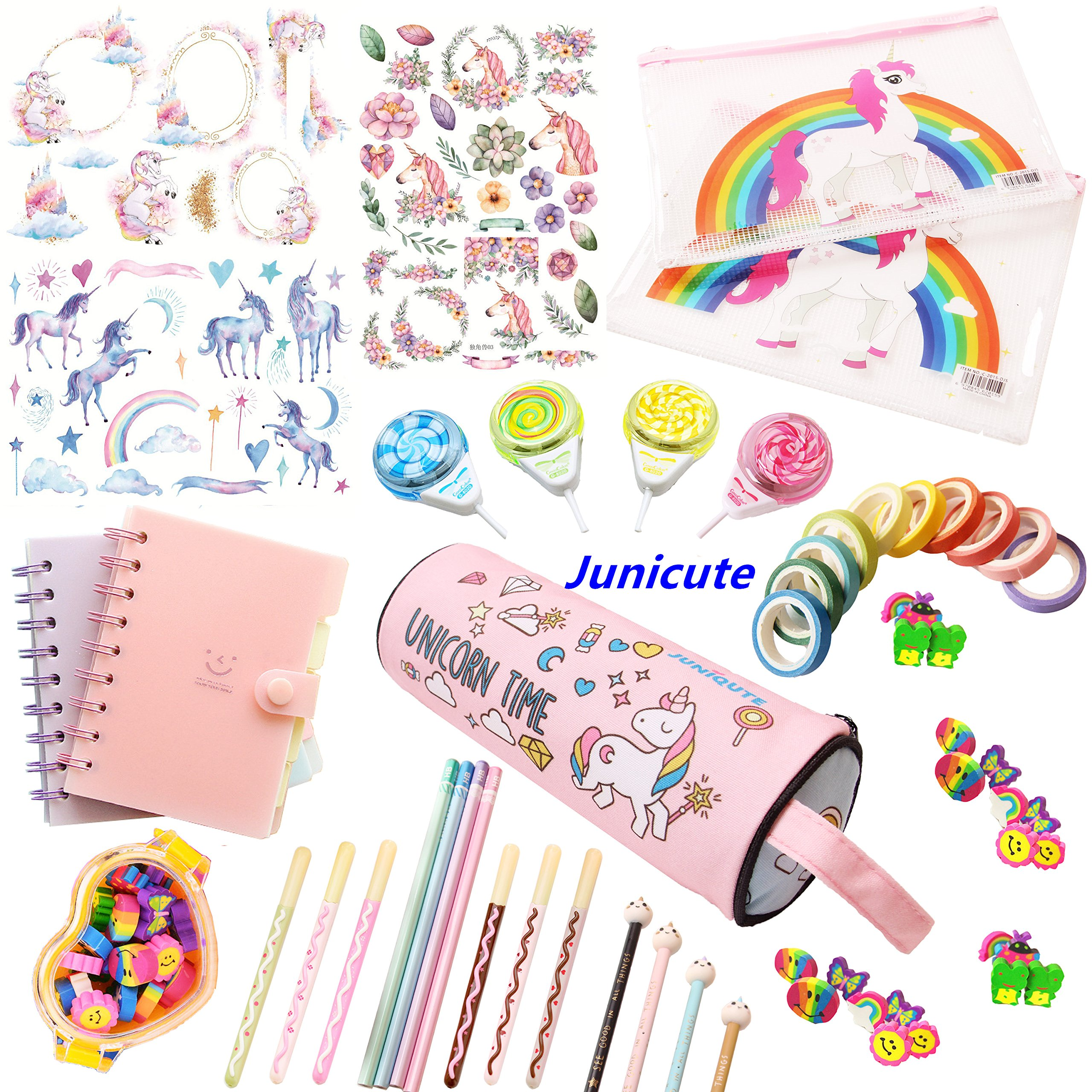 WZ Assorted Unicorn School Supplies Pen Pencil Case Eraser Note Stationery Gift Set (48Pcs) by WZ