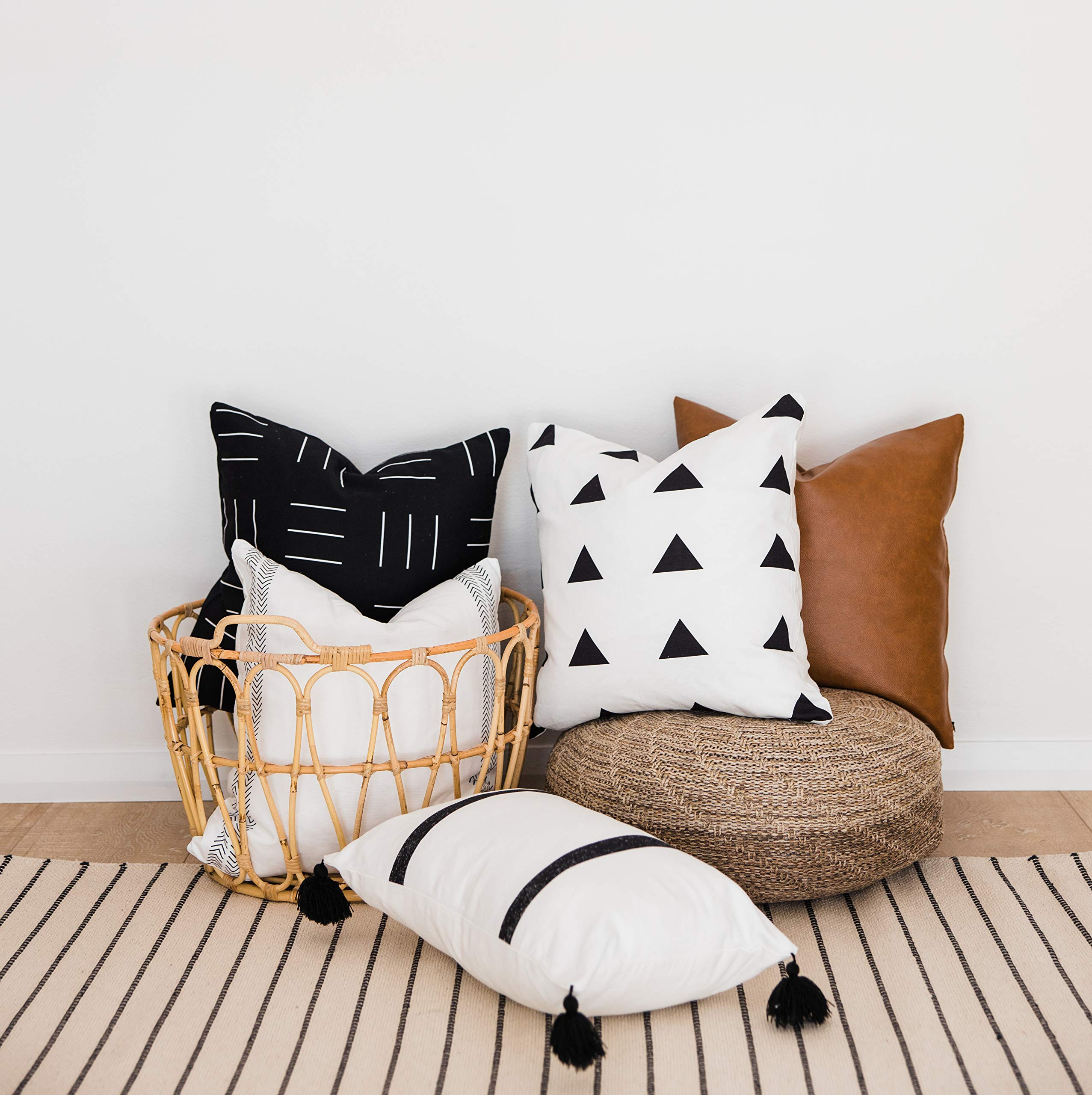 One Queens Lane Decorative Throw Pillow Covers ONLY for Couch, Sofa, or Bed, Boho, Geometric, Modern Design, 100% Cotton and Vegan Faux Leather Set of 5, 18 x 18 inch, Brooklyn Set