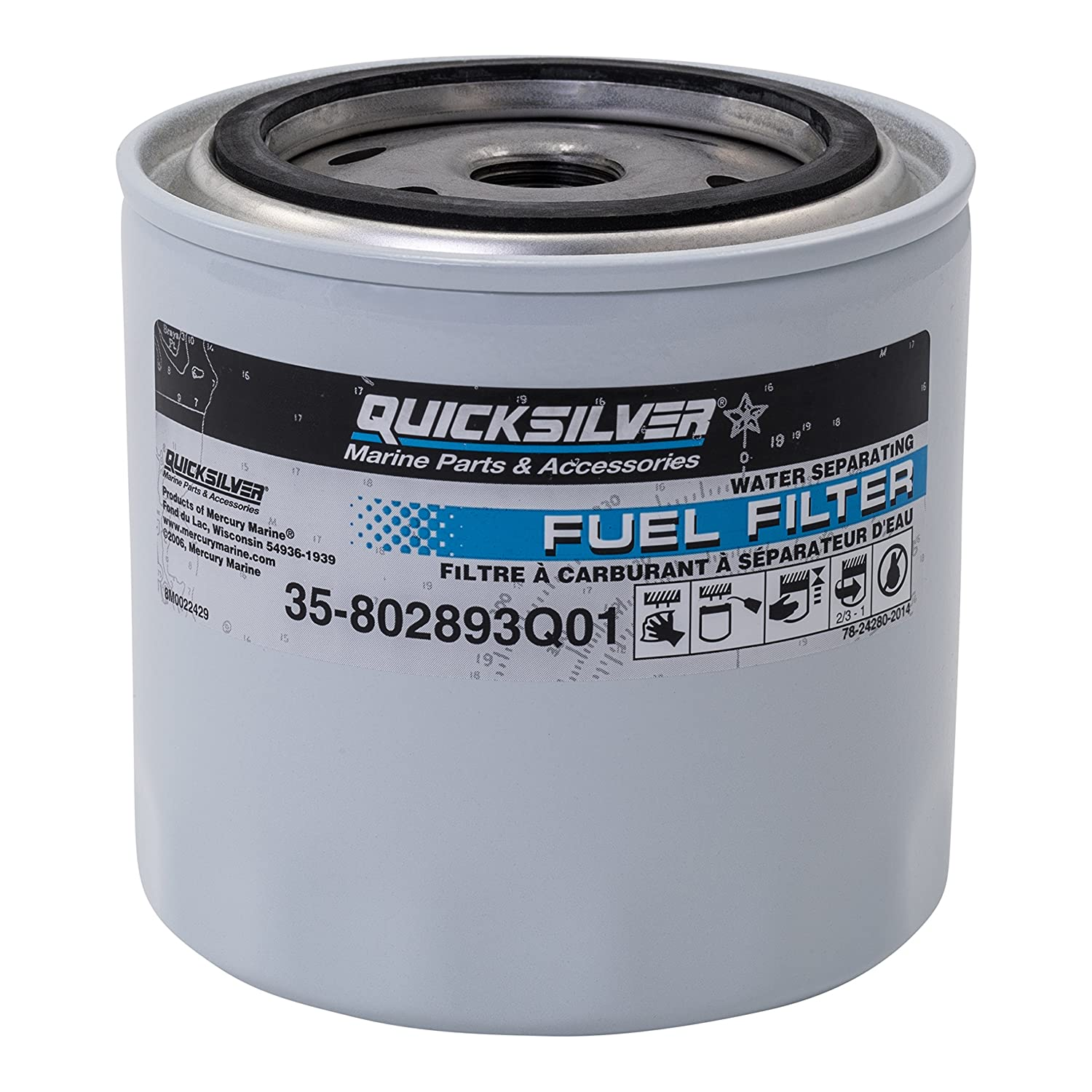 802893q01 Fuel Water Separating Filter Quicksilver 1992 Ford F 250 Filters Mercury Boat Sports Outdoors