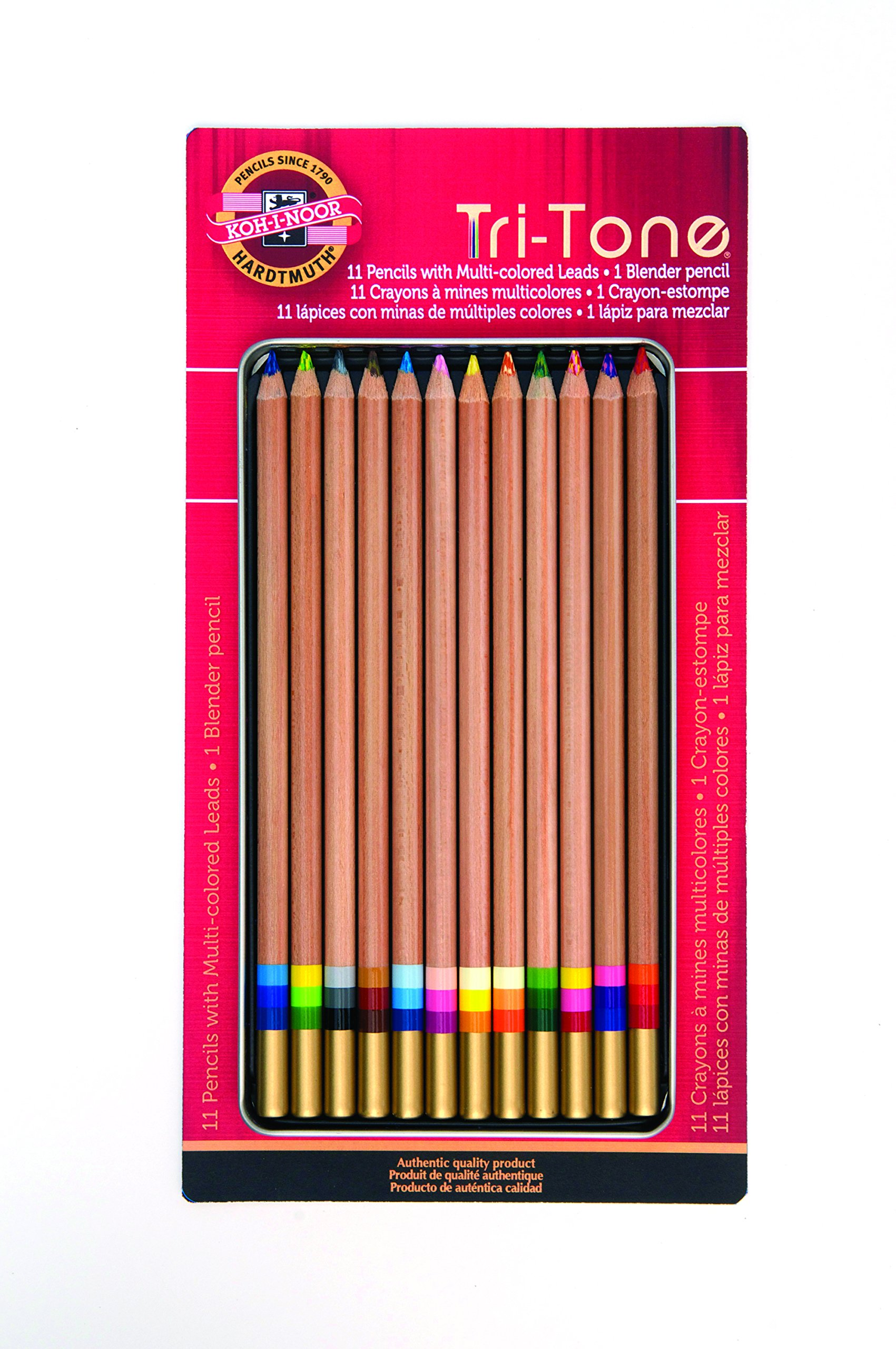 Koh-I-Noor Tri-Tone Multi-Colored Pencil Set, 12 Assorted Colors in Tin and Blister-Carded (FA33TIN12BC)
