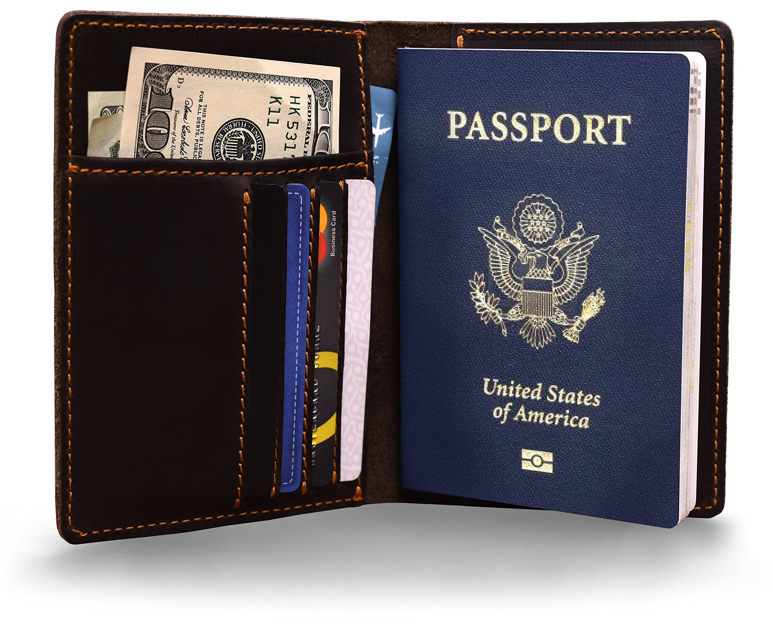Genuines Leather Passport Wallet – Lightweight, Stylish Passport Holder With Travel Pouch – Never Misplace your Travel Documents with this Case!