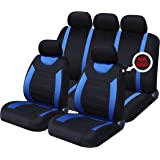 xtremeauto xa5292djw Full Set of Seat Covers, Sticker Included, Blue Black