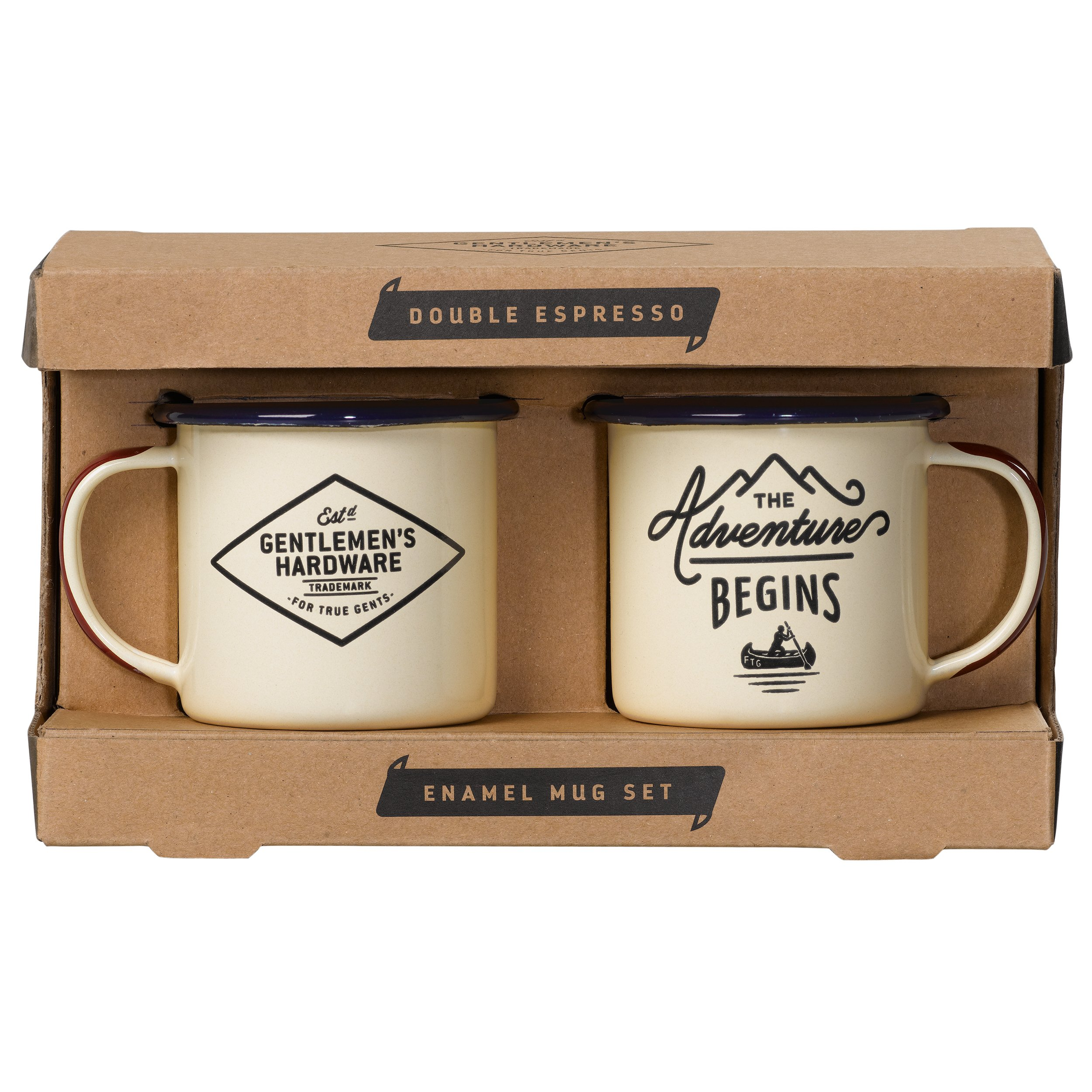 Gentlemen's Hardware Enamel Camping Espresso Mug Set of 2, Cream (5 Ounces)