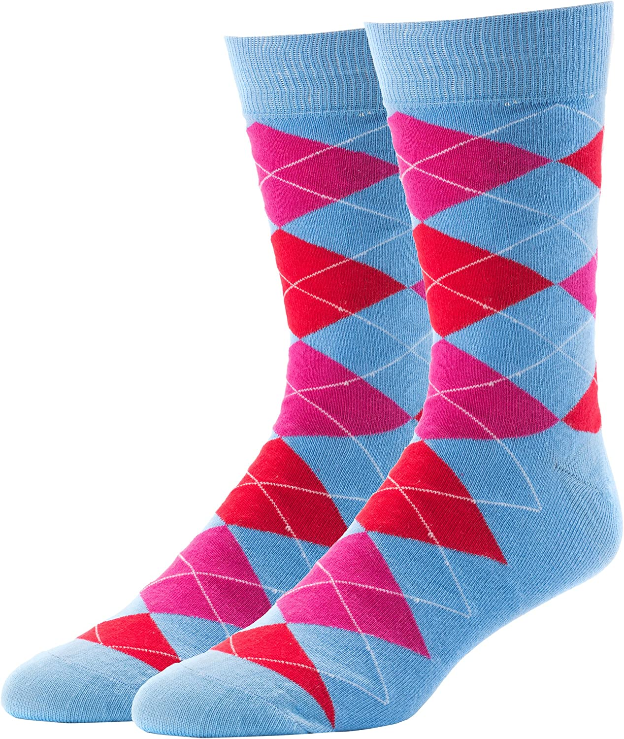 JYinstyle 7 Pack Mens Classic Colorful Cotton Crew Socks Stockings US Size 10-13 Set 2