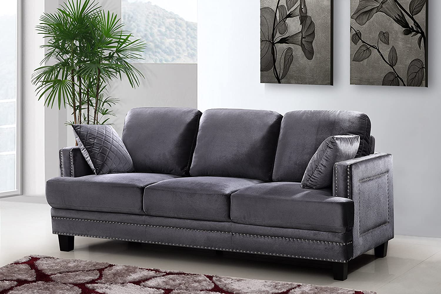 Amazon.com: Meridian Furniture Ferrara Velvet Nailhead Sofa, Grey: Kitchen  U0026 Dining