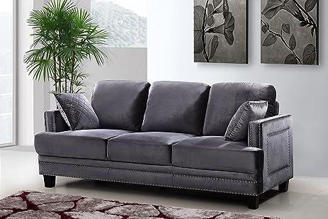 Good Meridian Furniture Ferrara Velvet Nailhead Sofa, Grey