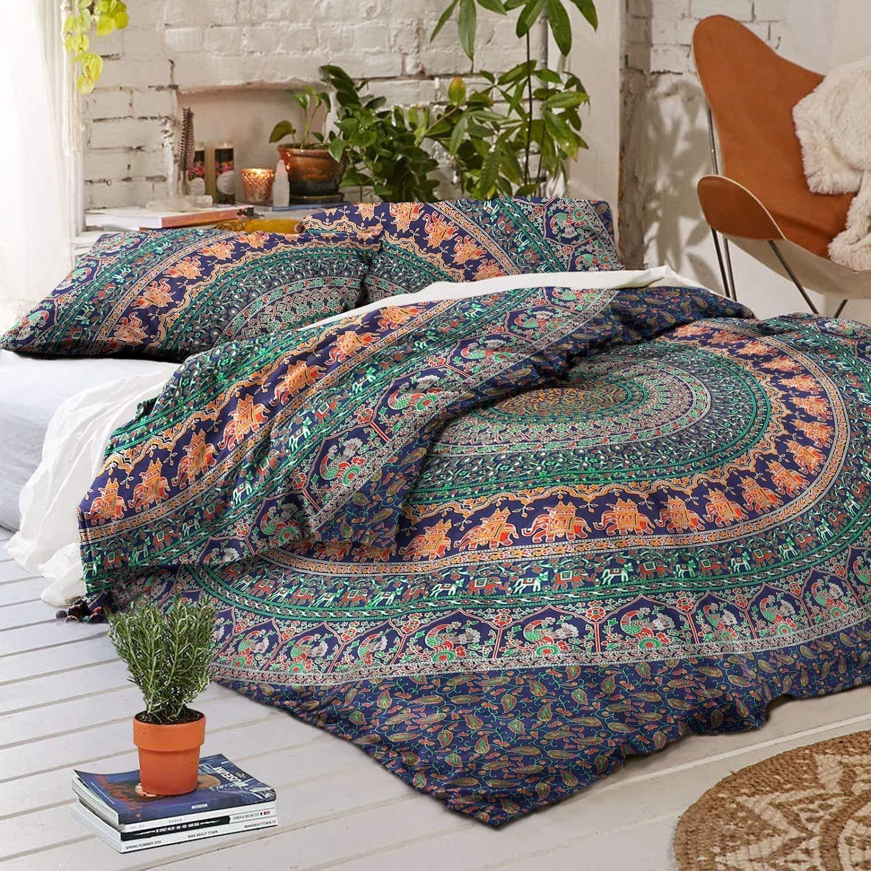 King Size Bohemian Mandala Duvet Cover Indian Handmade Doona Cover Throw Reversible Cotton Bedding Quilt Cover Set