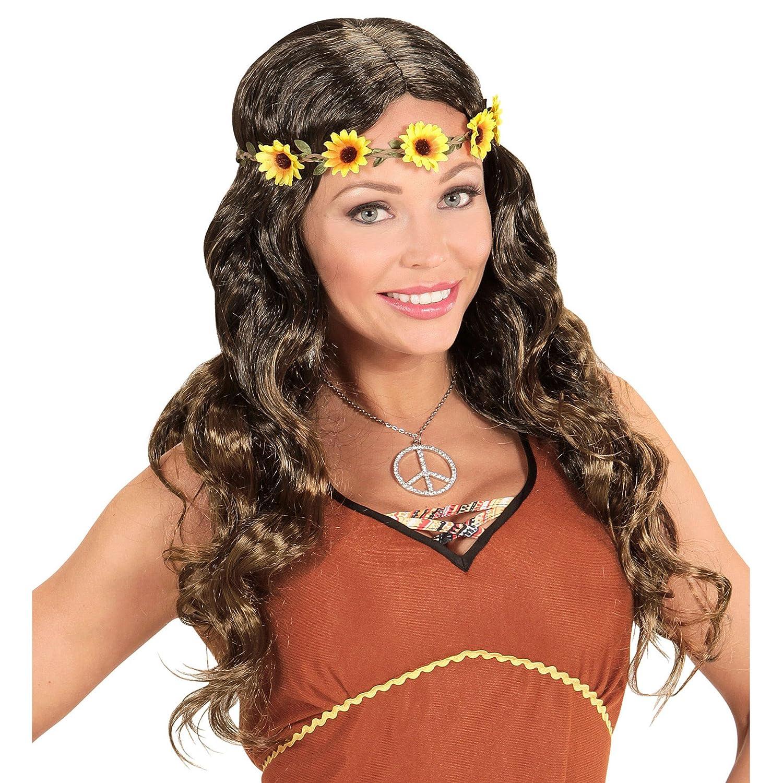 WIDMANN Hippie o Medieval Peluca de Pelo con Flor, en Bolsa, One Size: Amazon.es: Juguetes y juegos