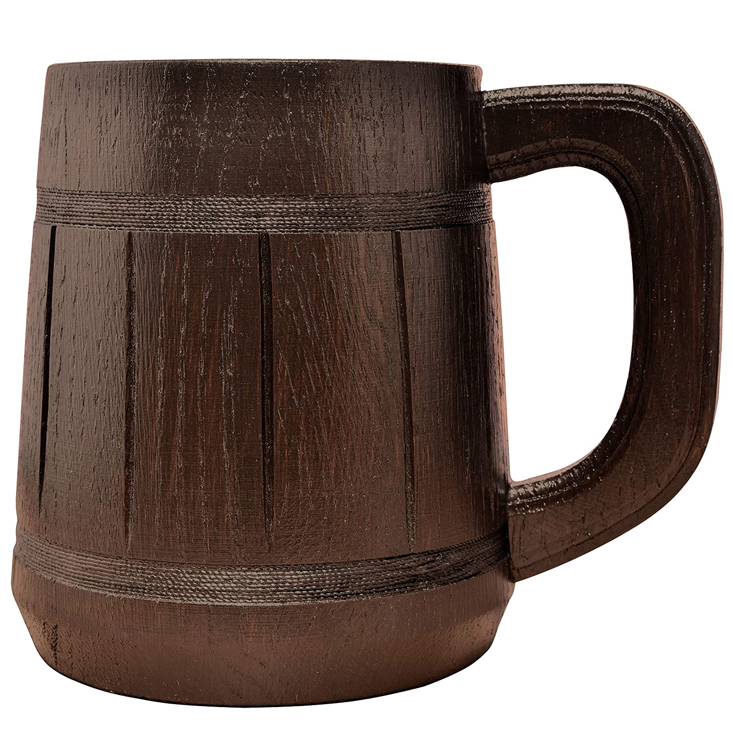 Wooden Beer Mug Men. Craft IPA Drinking Cup. Pint Wood Stein. Viking Ale Mead Dad Tankard Handle. Funny Father Day Wine Tumbler, Birthday Anniversary Gift. Cute Man Cave Rustic Decor, Party Accessory